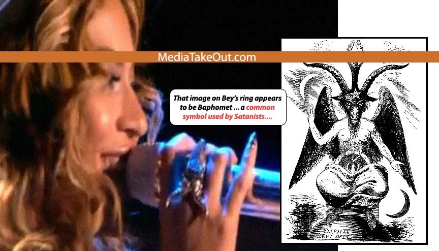 Beyonce paying homage to Satanic scene from movie, bearing a pentagram